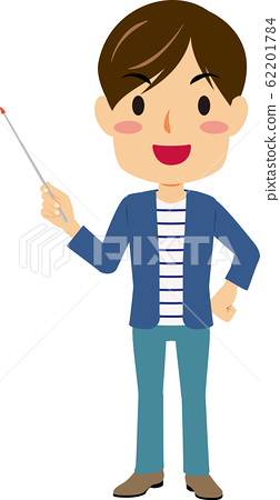 Young man with pointing stick 62201784