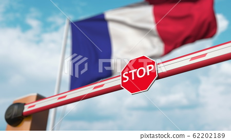 Barrier gate being closed with flag of France as a background. French restricted entry or certain ban. 3D rendering 62202189