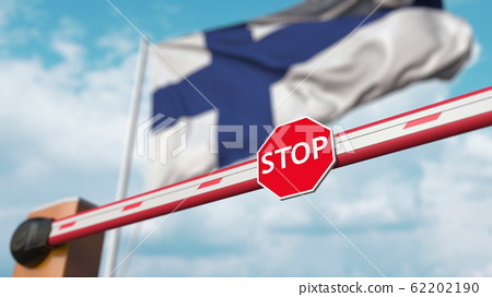 Closed boom barrier with stop sign against the Finnish flag. Restricted entry or certain ban in Finland. 3D rendering 62202190