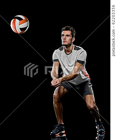 caucasian young volley ball player manisolated black background 62203356