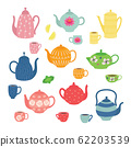 Hand drawn teapot and cup collection. Colorful tea cups, coffee cups and teapots isolated on white background. 62203539
