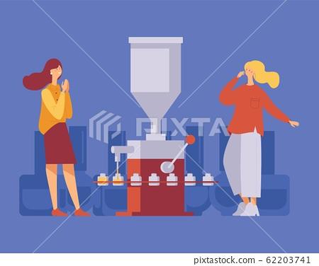 Two women happy near working nail polish filling 62203741
