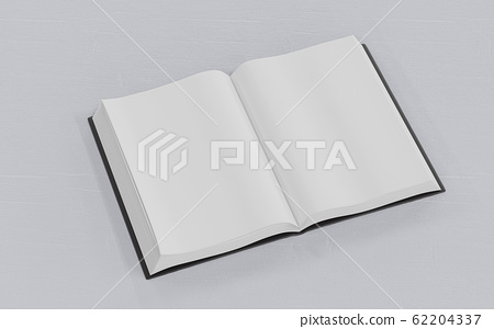 Blank empty opened book on white wood underground 3d render illustration 62204337