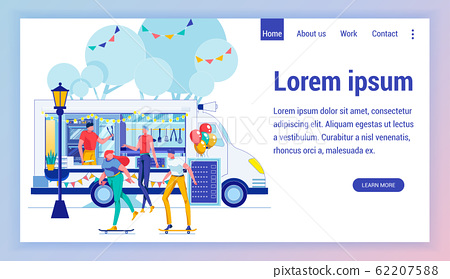 Junk Food Auto Flat Vector Landing Page Template 62207588