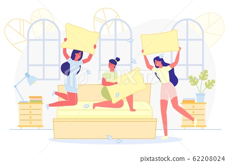 Advertising Flyer, Girlfriends Fight on Pillows. 62208024