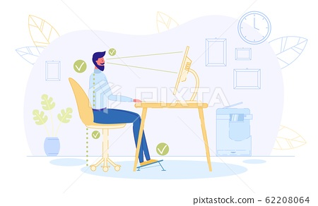 Correct Position to Sit at Table, Healthy Back. 62208064