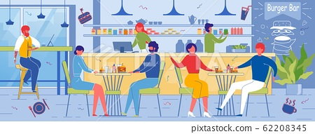 People Enjoy Food and Vacant Time in Burger Bar. 62208345