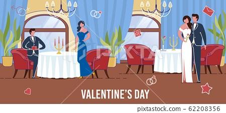 Amorous Couples Celebrating Saint Valentines Day. 62208356
