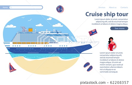 Inscription Cruise Ship Tour, Vector Illustration. 62208357