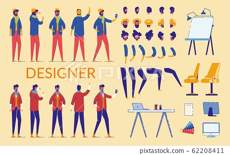 Man Characters Designer Constructor And Equipment 62208411