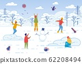 Friends Spending Leisure Time Together in Winter. 62208494
