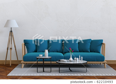 interior modern living room with sofa,  plant, lamp, decoration, 3D render 62210493