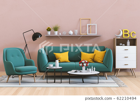 interior modern living room with sofa,  plant, lamp, decoration, 3D render 62210494