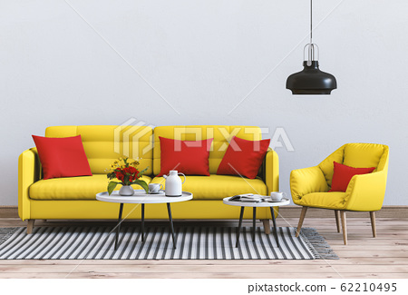 interior modern living room with sofa,  plant, lamp, decoration, 3D render 62210495