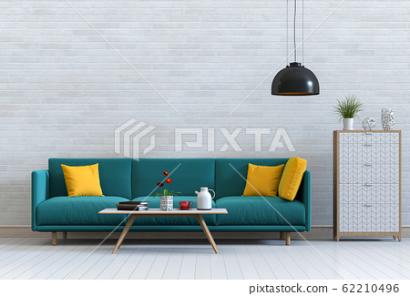 interior modern living room with sofa,  plant, lamp, decoration, 3D render 62210496