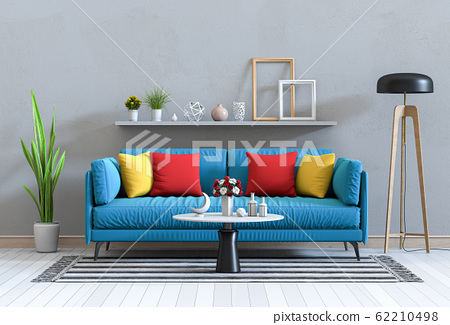 interior modern living room with sofa,  plant, lamp, decoration, 3D render 62210498