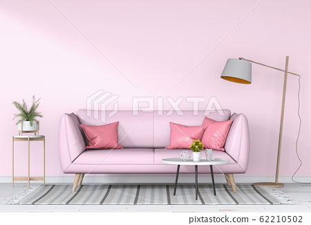 interior modern living room with sofa,  plant, lamp, decoration, 3D render 62210502