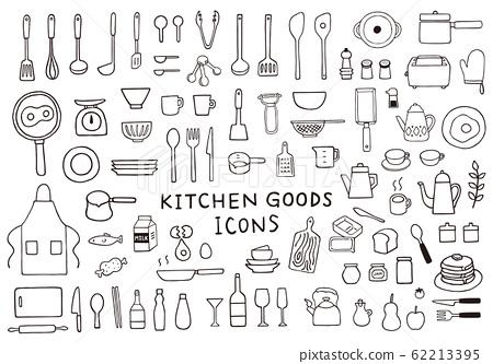 手繪風格廚房用品插圖集 62213395