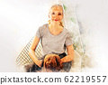 Abstract colorful young woman smile portrait and fun dog at house on watercolor illustration painting background. 62219557