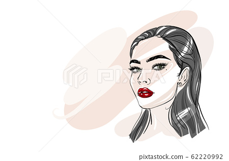 Hand-drawn young beautiful brunette girl with smokey eyes and red lipstick. Fashion illustration of a stylish look. 62220992