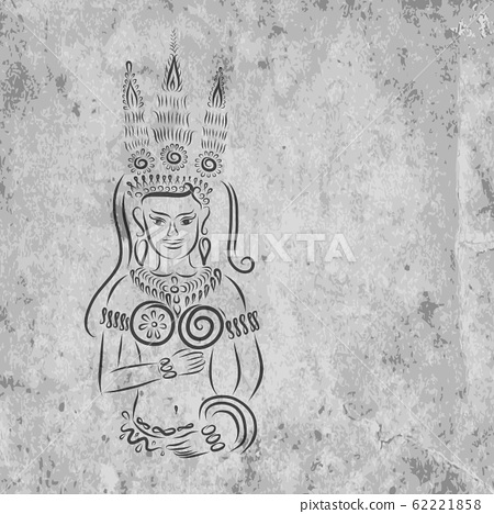 Apsara on grunge wall for your design 62221858