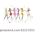 Girls dressed in floral costumes, hen party for 62221931