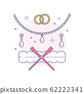 Bridal Jewelery and Garter Line Art Icon 62222341