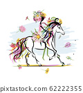 Floral girl on white horse for your design 62222355