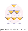 Wedding Pyramid from Glasses Line Art Icon 62222371