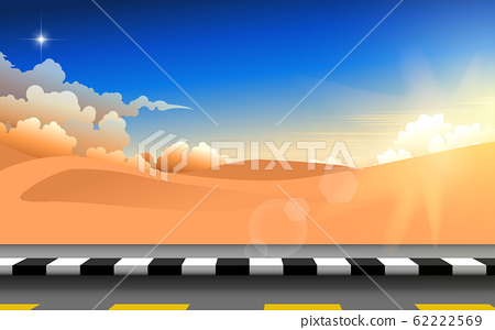 landscape of road in the desert in the morning 62222569