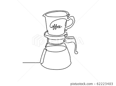 Continuous one line A dripper of coffee. 62223483