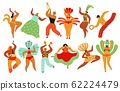 Carnival dancers. Capoeira, brazilian people dancing. Hot festive girls and boys, samba festival. Brazil dance party vector characters set 62224479