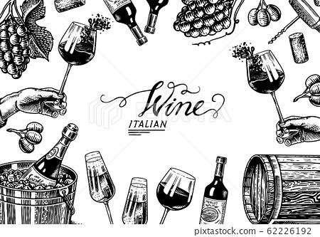 Wine background template. Alcoholic drink in the hand. Sparkling wine champagne, bottle and glass 62226192