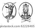 Animal character. smoking goat student and alpaca or Llama or Guanaco skier. Hand drawn portrait 62226465