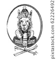 Alpaca lama skier character or guanaco athlete in winter clothes. Hand drawn Animal person portrait 62226492