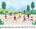 Park marathon. People running outdoor, joggers group and sport lifestyle. Jogging vector illustration 62227155