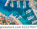 Aerial view of boats and yachts in port in old city at sunset. Summer landscape 62227647