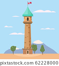 Castle medieval romantic tower. Medieval ancient fortress on landscape. Isolated cartoon style vector 62228000