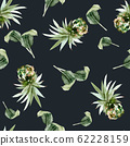 Seamless pattern with pineapples watercolor 62228159
