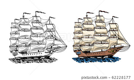 Sailboat in the sea, summer adventure, active vacation. Seagoing vessel, marine ship or nautical 62228177