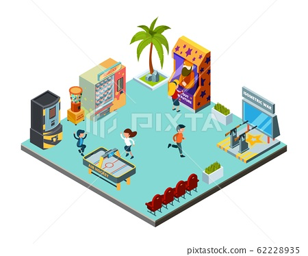 Game zone concept. Game center, kids room with playing game machines arcade simulator racer hockey shooting range vector isometric location 62228935