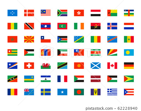 World flags. Symbols of all world countries map independent names vector collection 62228940