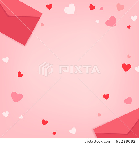 Valentine's day on pink background. Red and pink hearts with envelope on pastel pink background. 62229092