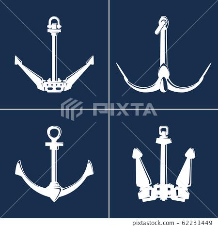 White flat anchor isolated on blue background 62231449