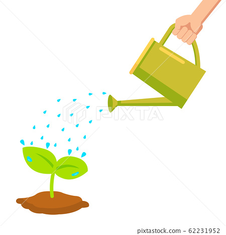 Vector Hand Holding Watering Can Watering Plant Stock Illustration 62231952 Pixta