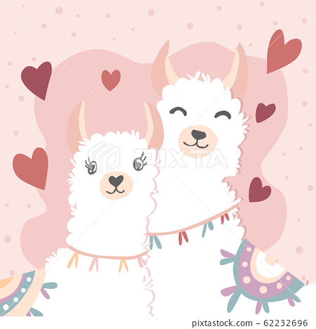Happy Valentines Day with couple llama in love, 62232696
