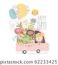 Little boy driving a car with flowers 62233425