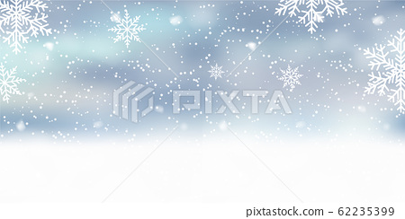 Xmas background with snowflakes on blue sky. 62235399