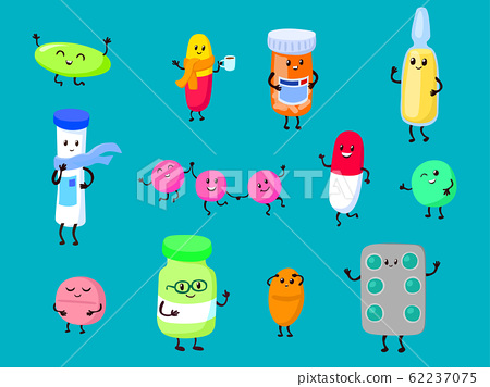 Medicine cute cartoon characters vector illustration. Smiling funny medical items for medication and prevention disease. 62237075