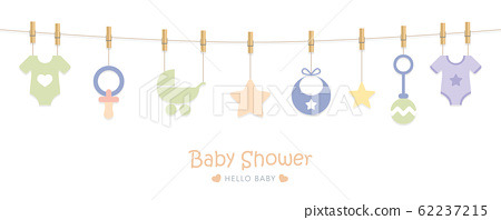 baby shower welcome greeting card for childbirth with hanging utensils 62237215
